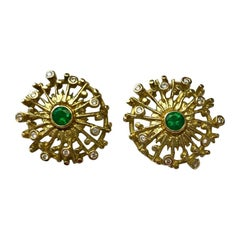 18 Carat Yellow Gold Emerald and Diamond Earrings