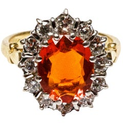 18 Carat Yellow Gold Fire Opal and Diamond Ring