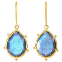 18 Carat Yellow Gold Labradorite Earrings