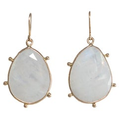 18 Carat Yellow Gold Moonstone Earrings