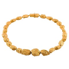 18 Carat Yellow Gold Nuggets Roberto Coin Style Necklace