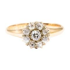 18 Carat Yellow Gold Old European Cut Diamond Antique Cluster Engagement Ring