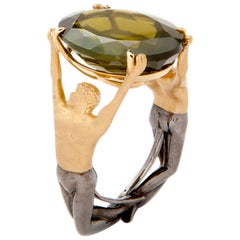 AENEA 18k Yellow Gold Peridot Cocktail Ring