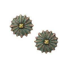 18 Carat Yellow Gold, Rhodium, Verdigris Brass and Yellow Sapphire Stud Earrings