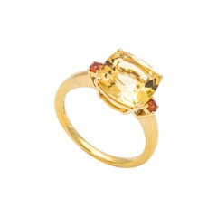 18 Carat Yellow Gold Ring Surmounted by a Citrine and Two Orange Sapphires