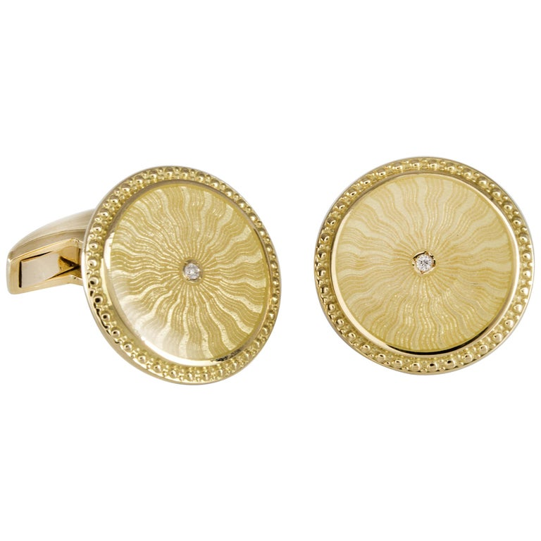 18 Carat Yellow Gold Round Cufflinks with Clear Enamel and Diamond Centre For Sale