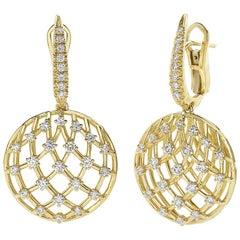 18 Carat Yellow Gold Round Cut Diamonds Dangle Earrings