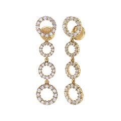 18 Carat Yellow Gold Round Cut Diamonds Earrings