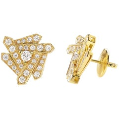 18 Carat Yellow Gold Round Cut Diamonds Stud Earrings