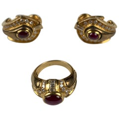 18 Carat Yellow Gold Ruby and Diamond Earrings and Ring