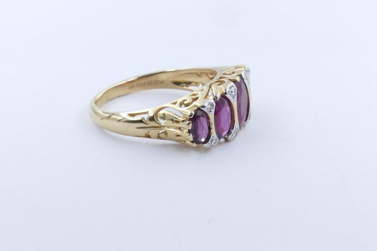 Victorian 18 Carat Yellow Gold Ruby and Diamond Dress Ring For Sale