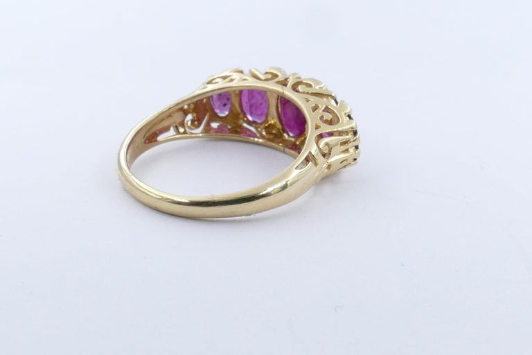 Mixed Cut 18 Carat Yellow Gold Ruby and Diamond Dress Ring For Sale