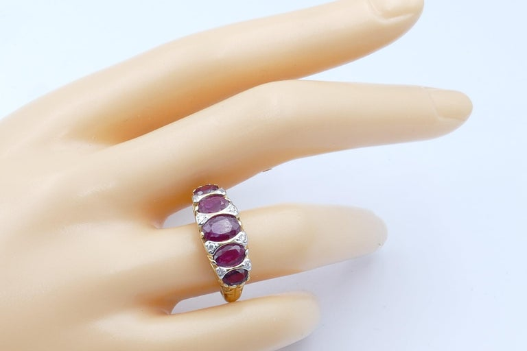 Women's 18 Carat Yellow Gold Ruby and Diamond Dress Ring For Sale