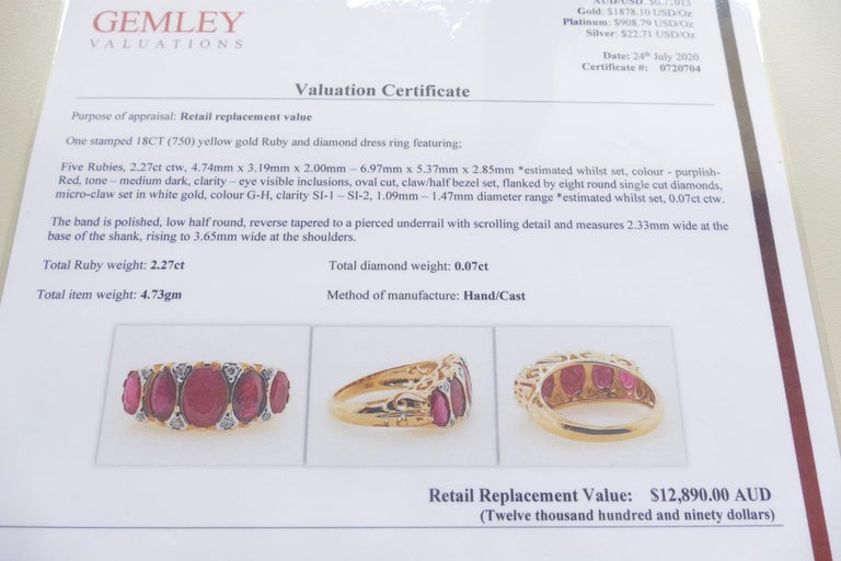 18 Carat Yellow Gold Ruby and Diamond Dress Ring For Sale 1