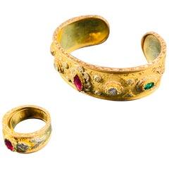 18 Carat Yellow Gold, Ruby, Diamond, Emerald Cuff Bracelet and Ring