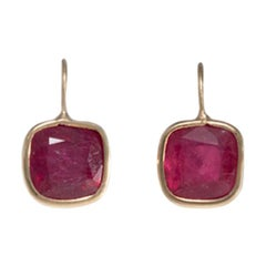 18 Carat Yellow Gold Ruby Earrings