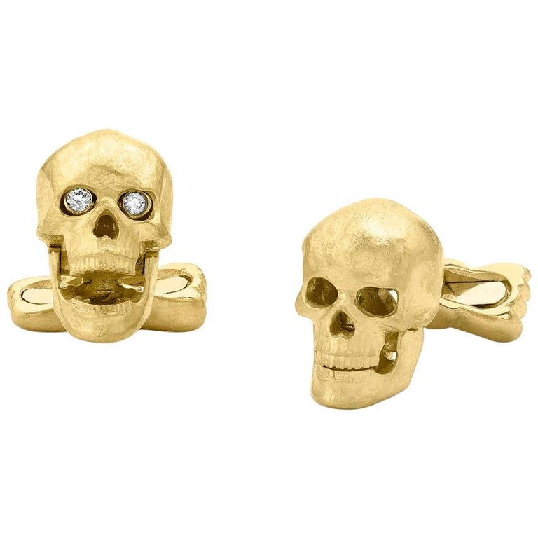 18 Carat Yellow Gold Skull Cufflinks with Popping Diamond Eyes For Sale