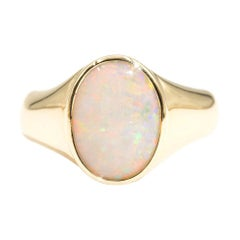 18 Carat Yellow Gold Solid Australian Opal Signet Solitaire Vintage Mens Ring