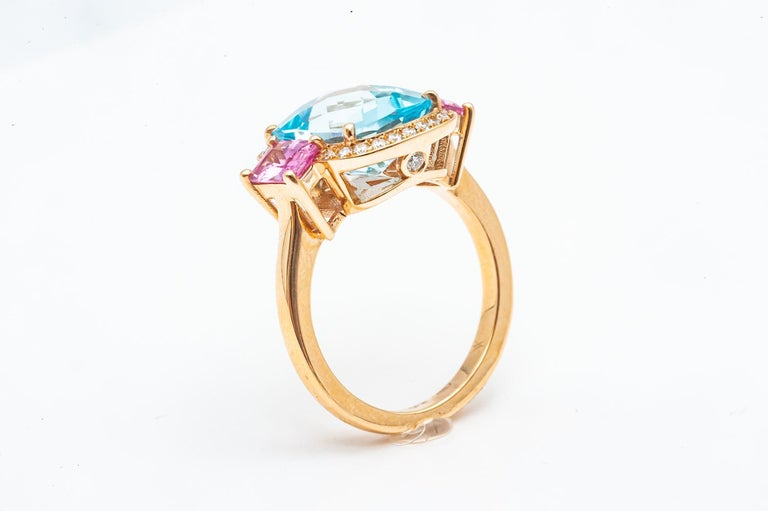 Art Deco 18 Carat Yellow Gold Topaz, Pink Sapphire and Diamond Ring For Sale