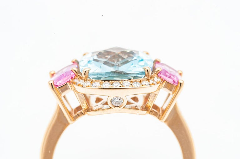 Baguette Cut 18 Carat Yellow Gold Topaz, Pink Sapphire and Diamond Ring For Sale