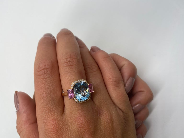 Women's 18 Carat Yellow Gold Topaz, Pink Sapphire and Diamond Ring For Sale
