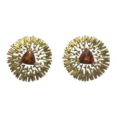18 Carat Yellow Gold Trillion Citrine Earrings
