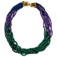18 Carat Yellow Gold Twist Lapius, Amethyst and Agate Necklace