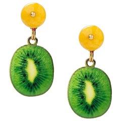 18 Carat Yellow Gold Vermeil, Brass, Jade and Enamel 'High Ball' Earrings