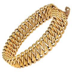 18 Carat Yellow Gold Vintage Double Curb Link Bracelet