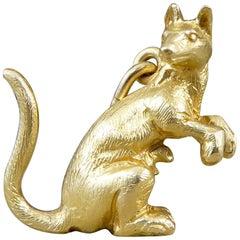 18 Carat Yellow Gold Vintage Kangaroo Pendant Charm