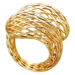 18 Carat Yellow Gold White Diamonds Net Ring Aenea Jewellery