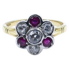 18 Carat Yellow & White Gold Vintage Ruby & Old European Cut Diamond Daisy Ring