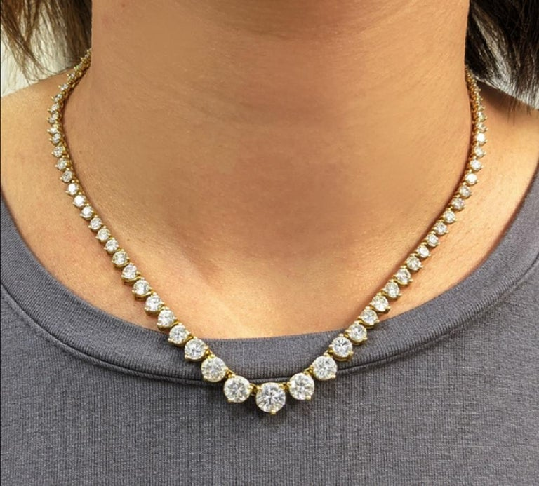 Modern 18 Carat Tennis Riviere Necklace 18 Carat Yellow Gold G Color VS Clarity For Sale