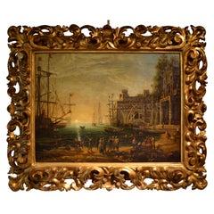 "18 Century Copy of ""Port Scene with the Villa Medici"" by Claude Lorraine"