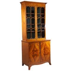 18 Century Sheraton George III Satinwood Cabinet Bookcase, circa 1785