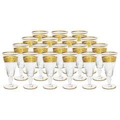 18 Champagnes Flutes Baccarat Crystal Eldorado, 22-Carat Gold Engraved, end 19th