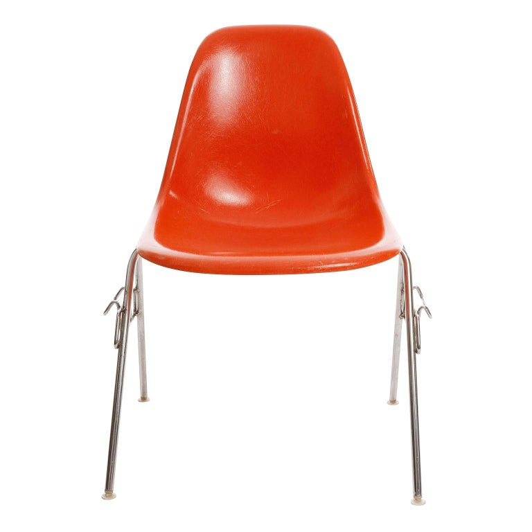 American 18 DSS Stacking Chairs, Charles & Ray Eames, Herman Miller, Orange Fiberglass For Sale