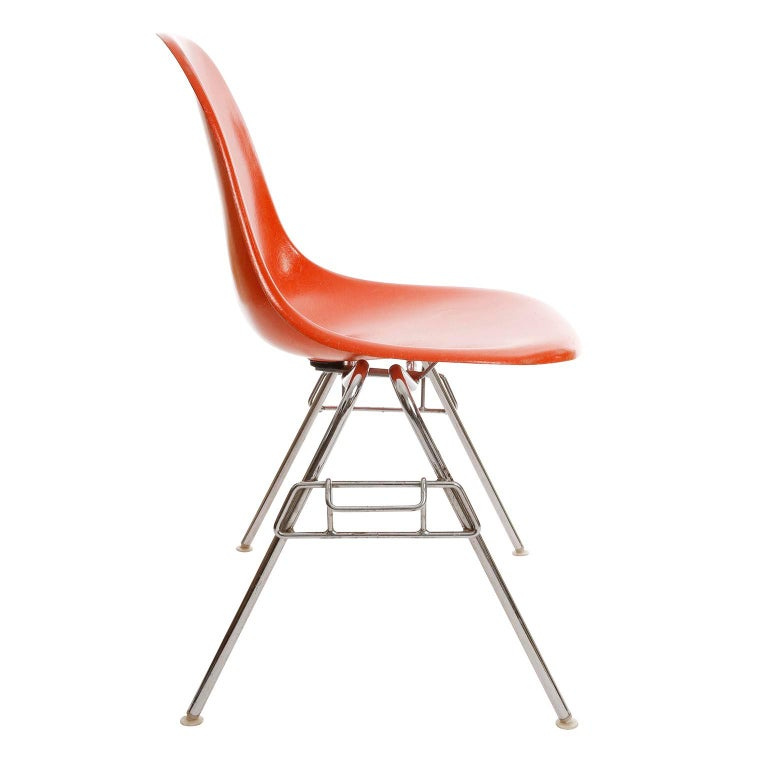 Late 20th Century 18 DSS Stacking Chairs, Charles & Ray Eames, Herman Miller, Orange Fiberglass For Sale