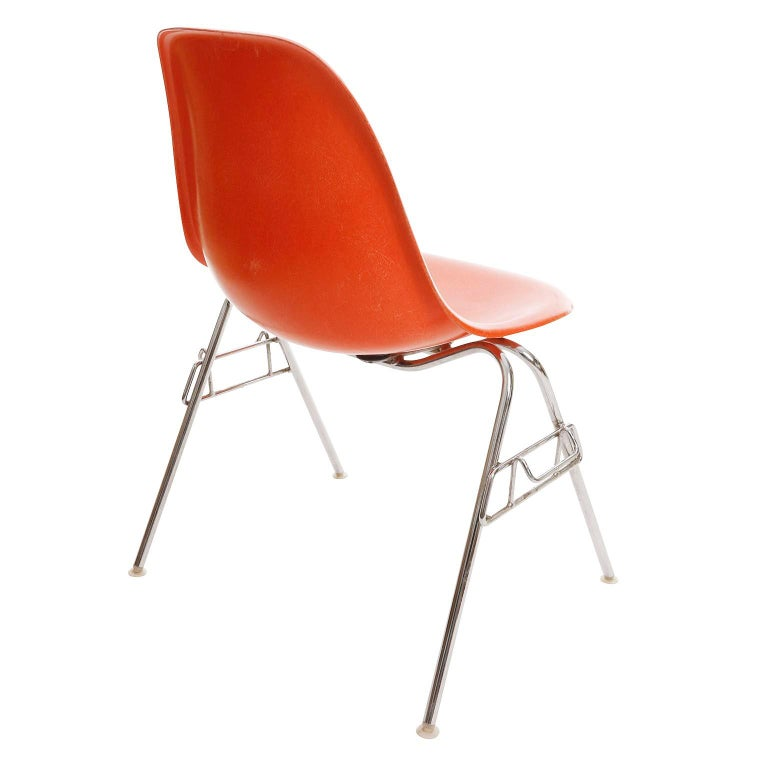 Metal 18 DSS Stacking Chairs, Charles & Ray Eames, Herman Miller, Orange Fiberglass For Sale
