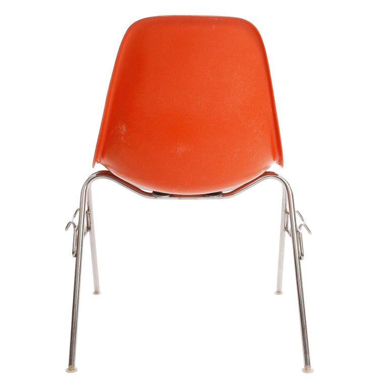 18 DSS Stacking Chairs, Charles & Ray Eames, Herman Miller, Orange Fiberglass For Sale 1