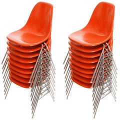 18 DSS Stacking Chairs, Charles & Ray Eames, Herman Miller, Orange Fiberglass