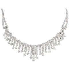 18 GIA Certs 21.74 Carat Diamond Art Deco Style Necklace 18 Karat White Gold