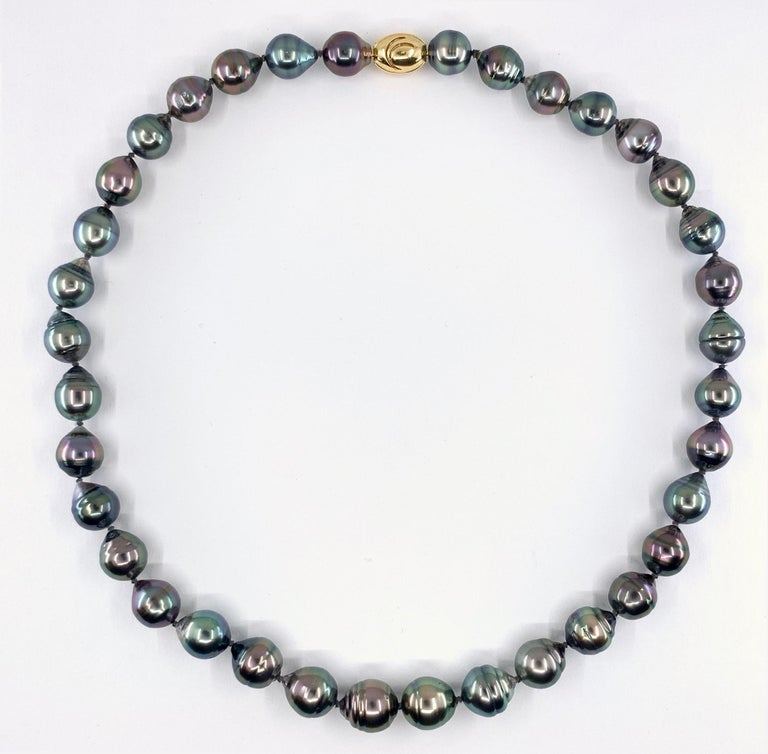 Contemporary Graduated Multicolored Tahitian Baroque Pearl Necklace For Sale