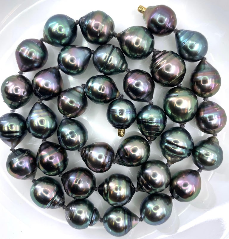 Graduated Multicolored Tahitian Baroque Pearl Necklace For Sale 1