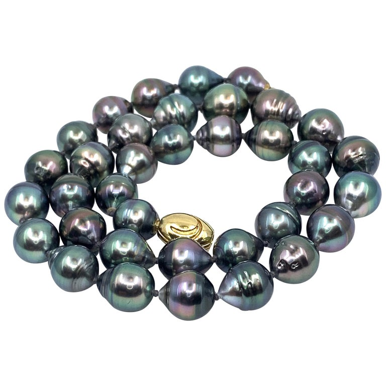 Graduated Multicolored Tahitian Baroque Pearl Necklace For Sale