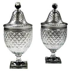 Large Pair of Cut Glass Fruit Coolers Urns by Voneche Belgium