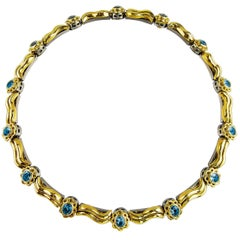 18 Karat Aquamarine and Gold Necklace