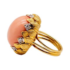 18 K Gold Diamond Angelskin Coral Ring