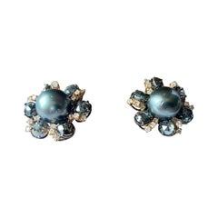 18 K Gold Earclips with Cut Und Uncut Rough Diamonds Tahitian Pearls