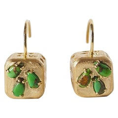 18 Karat Gold Green Turquoise Earrings